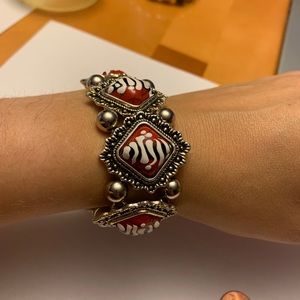 Hand painted one of a kind red n silver bracelet